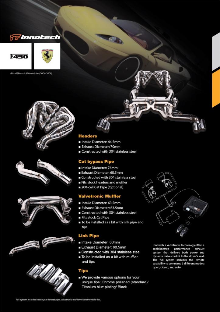 フェラーリ F430 F1サウンド 360 パワクラ パワークラフト 高音 可変 バルブ マフラー イノテック リモコン クライス トンネル エキマニ 触媒 交換 ストレート パイプ